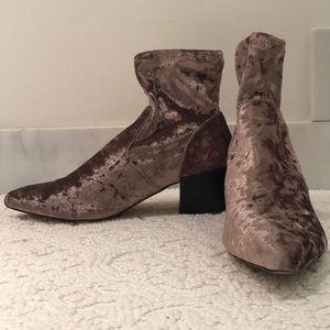 ASOS Rocco Pointed Velvet Sock Bootie